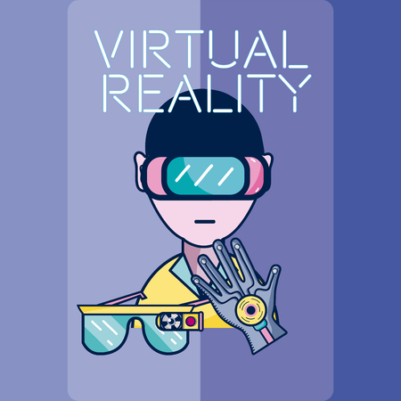 Young man with virtual reality glasses and glove technology vector illustration graphic design
