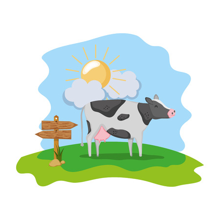 cow farm animal with wood notices