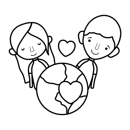 line happy couple with earth planet and passion heart Foto de archivo - 105631685
