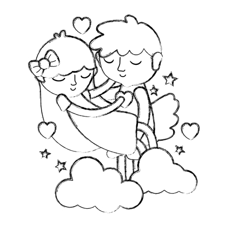 Grunge Boy And Girl Sleeping With Hearts And Clouds Vector