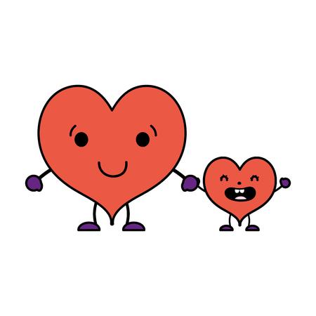 Color kawaii corazón feliz y su hijo con brazos ilustración vectorial