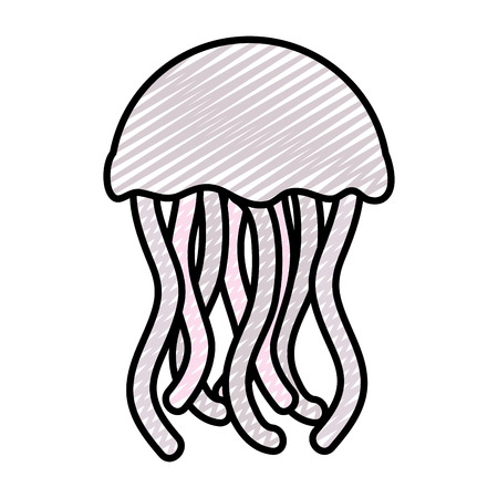 doodle exotic jellyfish marine animal with tentacles Stock Photo - 105630548