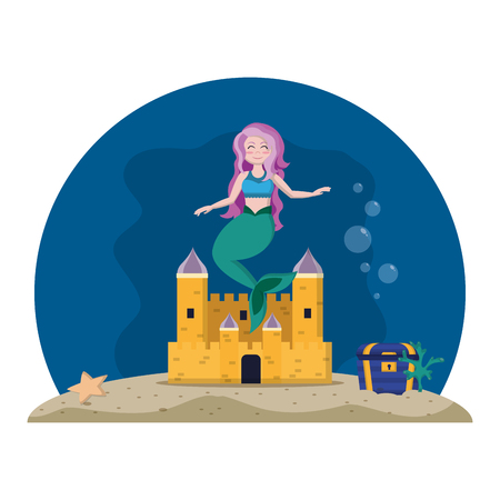cute mermaid under water with castle and coffer Vettoriali