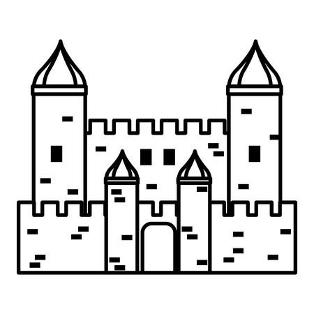 line fantastic medieval castle architecture style