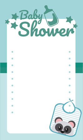 baby shower blank card with cute cartoons vector illustration graphic design Vettoriali