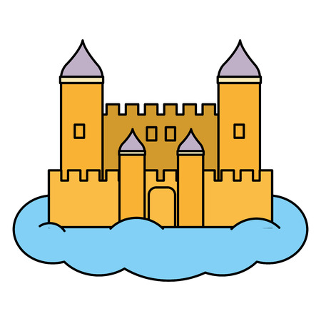 color medieval castle architecture style in the cloud
