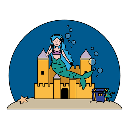 color siren woman under water with castle