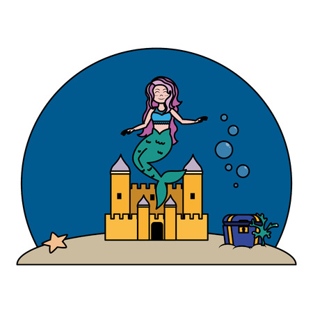color cute mermaid under water with castle and coffer