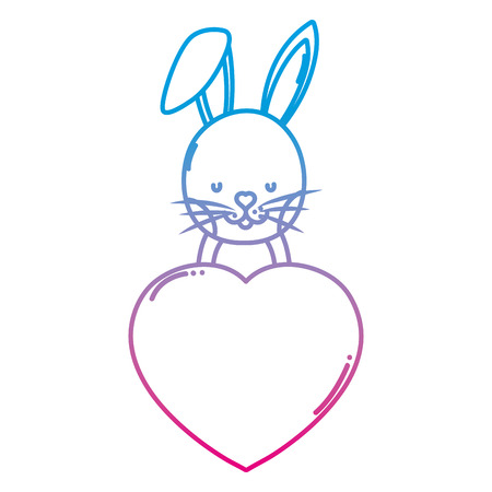degraded line cute rabbit with heart love sign vector illustration 일러스트