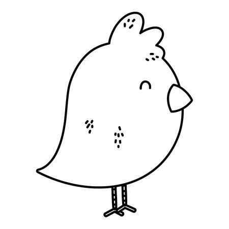 line cute chick farm animal icon vector illustration