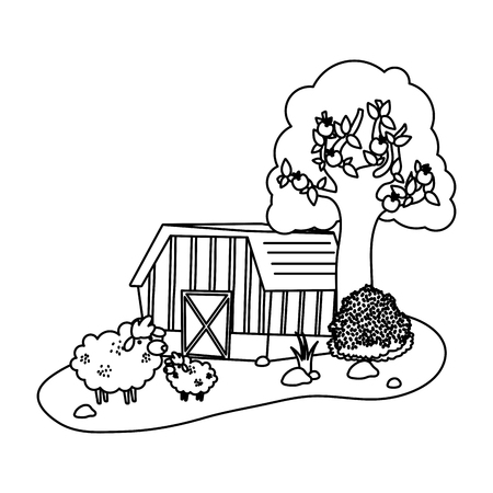 line house farm with sheeps animals and tree vector illustration
