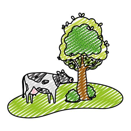 doodle cute cow farm animal next to tree vector illustration Çizim
