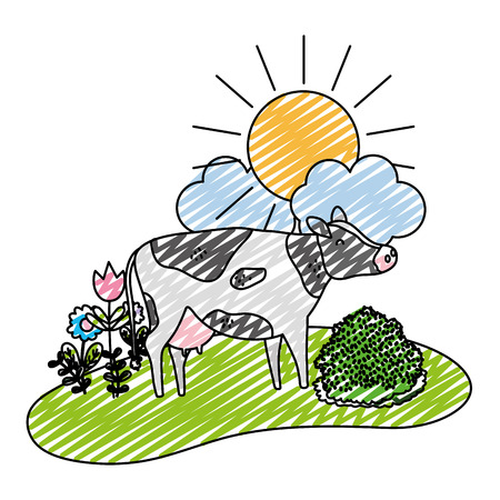doodle belle vache animal marche ferme illustration vectorielle