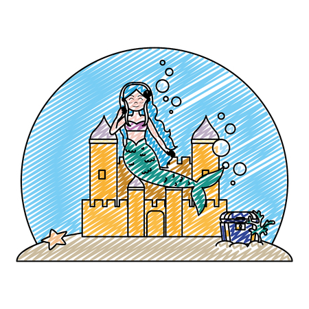 doodle siren woman under water with castle