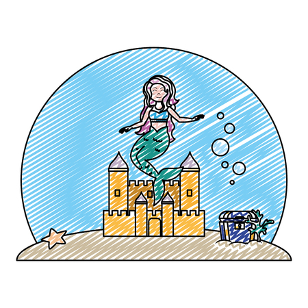 doodle cute mermaid under water with castle and coffer