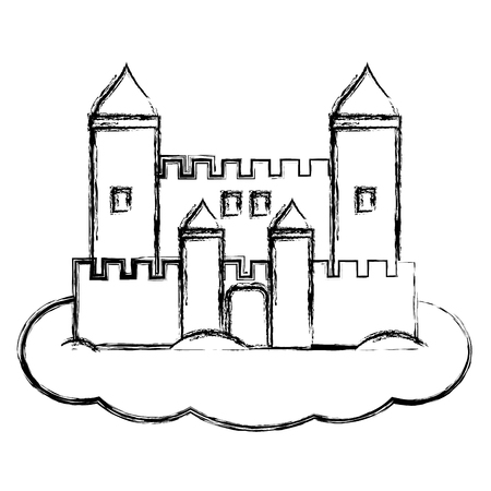 grunge medieval castle architecture style in the cloud