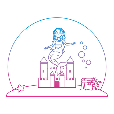 degraded line cute mermaid under water with castle and coffer