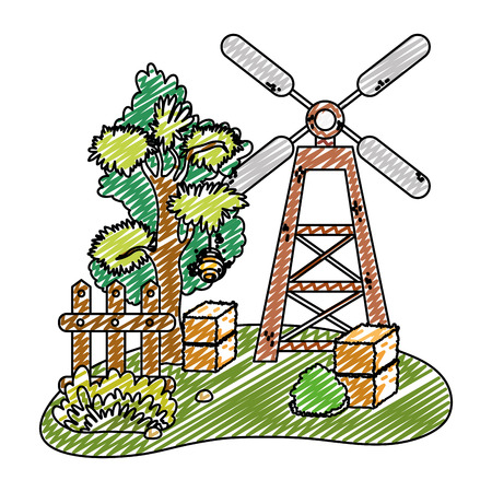 doodle windmill with farm straw bale and wood grillage vector illustration
