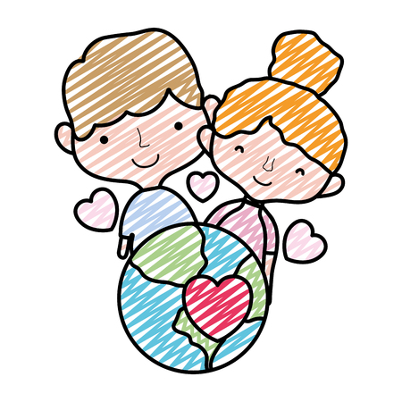 doodle beauty couple with earth planet and hearts vector illustration Foto de archivo - 105881562