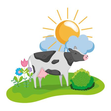 nice cow animal walking farm Stock Photo