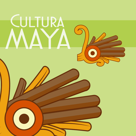 Cultura maya god sculpture poster vector illustration graphic design Ilustração