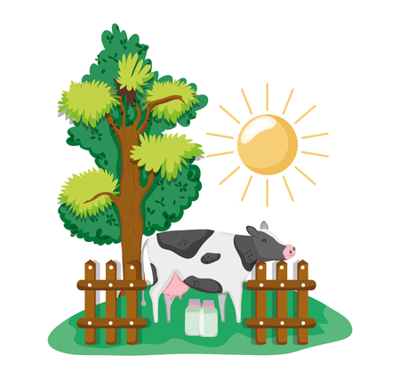 Beautiful farm cartoons with cow and milk bottles vector illustration graphic design