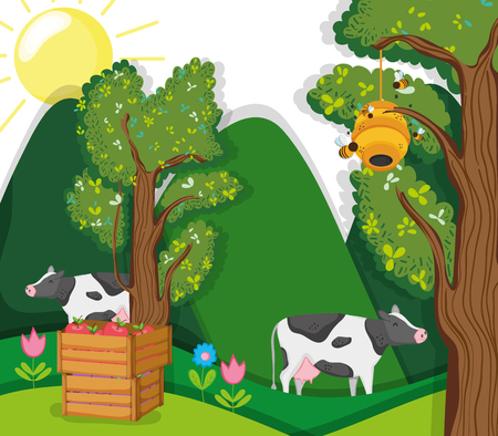 Beautiful farm cartoons with cows vector illustration graphic design Çizim