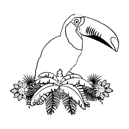 grunge tropical pelican with branches plant leaves