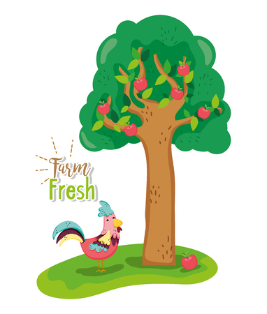 Cute farm fresh cartoons vector illustration graphic design Vectores
