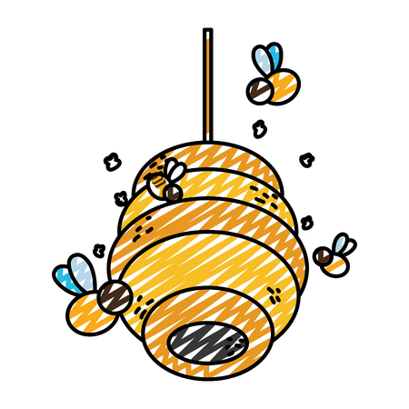 doodle honeycomb hanging with bees insect flying Stock Photo