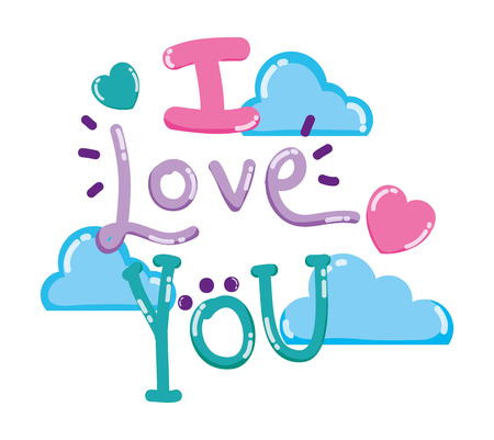 I love you card message cute cartoons design vector illustration graphic design