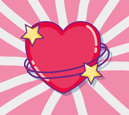 Diseño gráfico del ejemplo del vector de los dibujos animados lindos de la tarjeta del amor y de los corazones