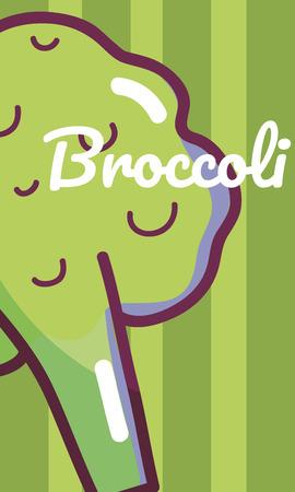 Broccoli vegetable cartoon over colorful striped background vector illustration graphic design