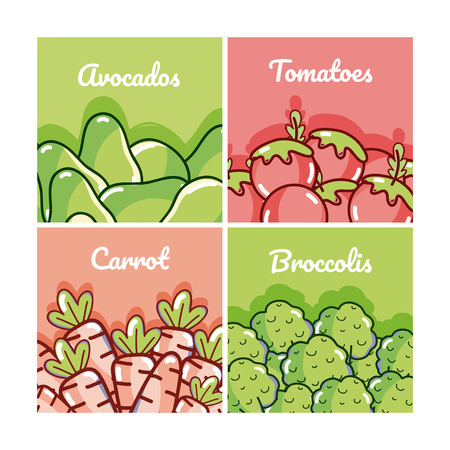 Set of vegetables cartoons cards collection vector illustration graphic design