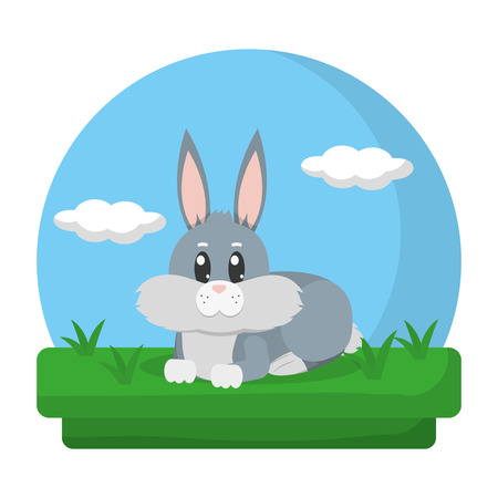 cute rabbit animal lying in the landscape