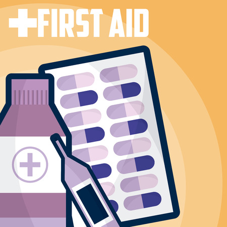 First aid medicine bottle with glucometer and pills vector illustration graphic design
