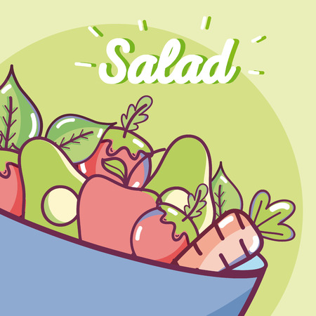 Vegetables ingredients salad colorful cartoons vector illustration graphic design