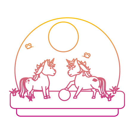 degraded line cute unicorns playing with ball in the landscape vector illustration Çizim
