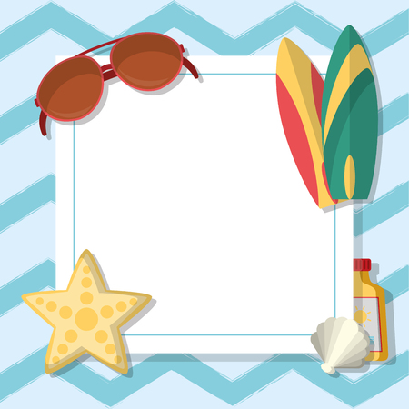 Summer frame template with cute cartoons vector illustration graphic design Vectores