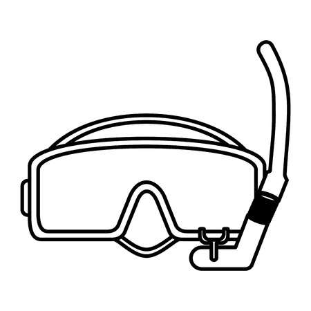 line diving mask equipment under water vector illustration Illustration