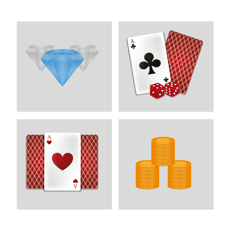 Set of casino icons collection vector illustration graphic design