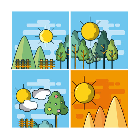 Set of landscape cartoons Ilustrace