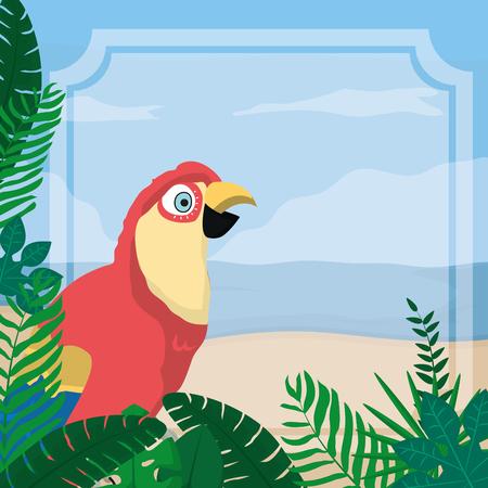 Parrot exotic bird decorative card vector illustration graphic design