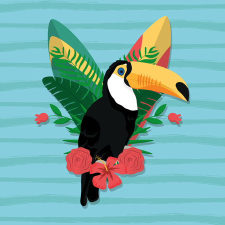 Tucan exotic bird decorative card vector illustration graphic design