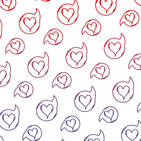 degraded line heart inside chat bubble message background vector illustration