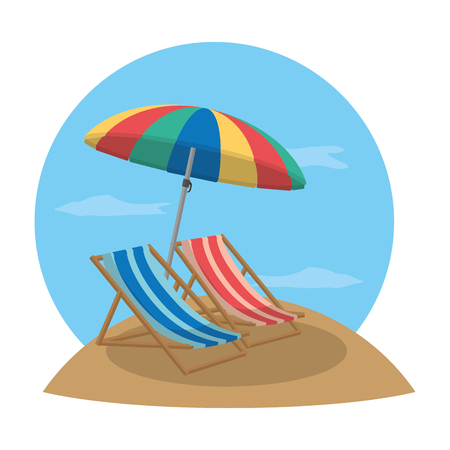 beach chairs with open umbrella protection vector illustration