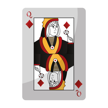 queen diamond card casino game vector illustration