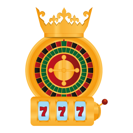 roulette and slot machine casino game with crown vector illustration
