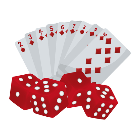 diamond poker cards and dices game vector illustration  イラスト・ベクター素材
