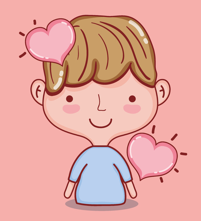 Cute boy with hearts cartoons vector illustration graphic design Illustration